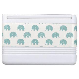 Teal Cute Elephant Pattern Igloo Cool Box