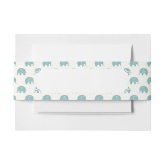 Teal Cute Elephant Pattern Invitation Belly Band