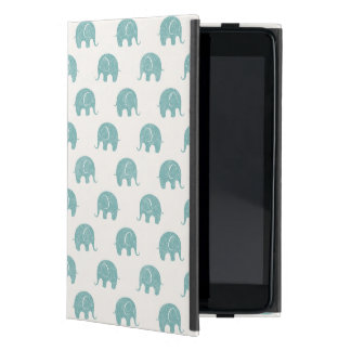 Teal Cute Elephant Pattern iPad Mini Case