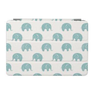 Teal Cute Elephant Pattern iPad Mini Cover