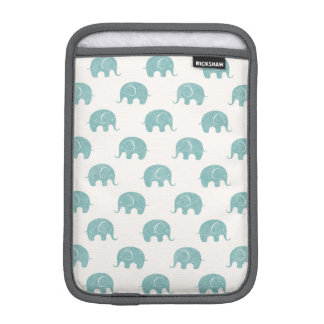 Teal Cute Elephant Pattern iPad Mini Sleeve