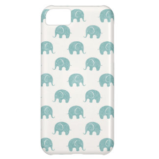 Teal Cute Elephant Pattern iPhone 5C Case