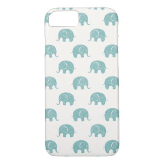 Teal Cute Elephant Pattern iPhone 7 Case