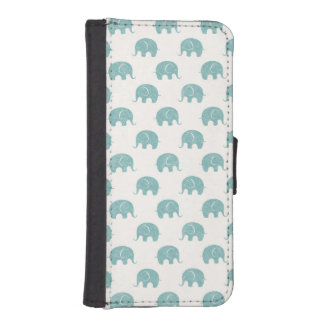 Teal Cute Elephant Pattern iPhone SE/5/5s Wallet Case