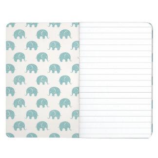 Teal Cute Elephant Pattern Journal