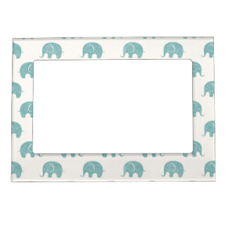 Teal Cute Elephant Pattern Magnetic Frame