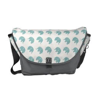 Teal Cute Elephant Pattern Messenger Bags