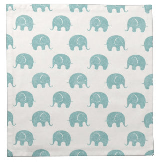 Teal Cute Elephant Pattern Napkin