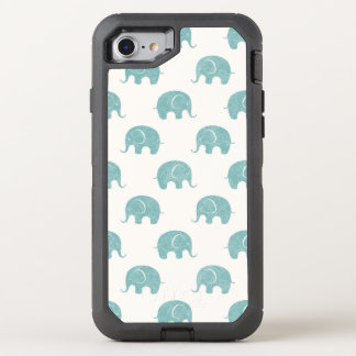 Teal Cute Elephant Pattern OtterBox Defender iPhone 8/7 Case