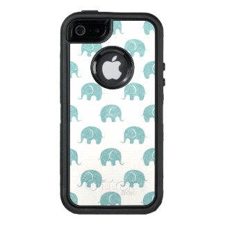 Teal Cute Elephant Pattern OtterBox Defender iPhone Case