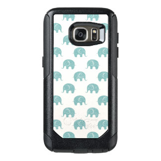 Teal Cute Elephant Pattern OtterBox Samsung Galaxy S7 Case