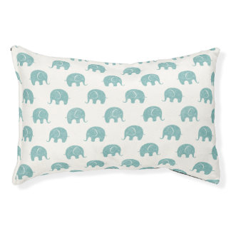 Teal Cute Elephant Pattern Pet Bed