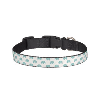 Teal Cute Elephant Pattern Pet Collar