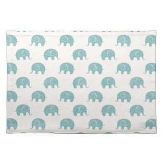 Teal Cute Elephant Pattern Placemat