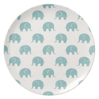 Teal Cute Elephant Pattern Plate