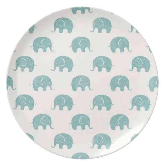 Teal Cute Elephant Pattern Plate