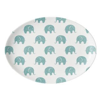 Teal Cute Elephant Pattern Porcelain Serving Platter