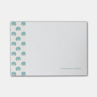 Teal Cute Elephant Pattern Post-it Notes