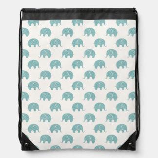 Teal Cute Elephant Pattern Rucksack