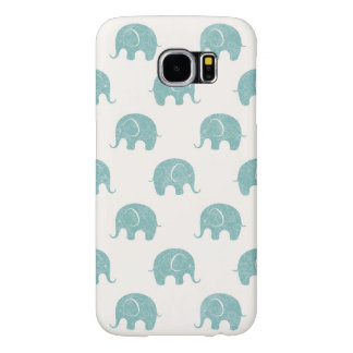 Teal Cute Elephant Pattern Samsung Galaxy S6 Cases