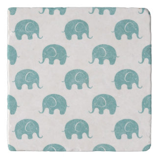 Teal Cute Elephant Pattern Trivet