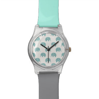 Teal Cute Elephant Pattern Watch
