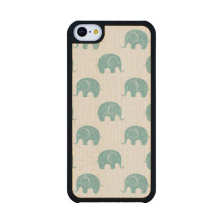 Teal Cute Elephant Pattern Maple iPhone 5C Case
