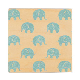 Teal Cute Elephant Pattern Wood Coaster