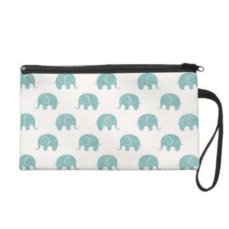 Teal Cute Elephant Pattern Wristlet Clutch
