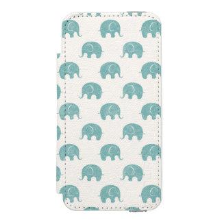 Teal Cute Elephant Pattern Incipio Watson™ iPhone 5 Wallet Case
