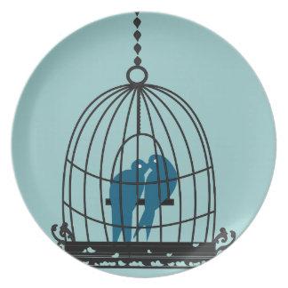 Teal Cute Kissing Love Birds Sitting in a Bird Cag Dinner Plate