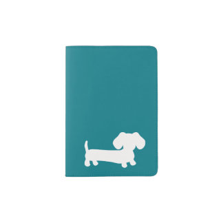 Teal Dachshund Wiener Dog Passport Cover Travel