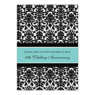"Teal Damask 10th Anniversary Party Invitation 5"" X 7"" Invitation Card"