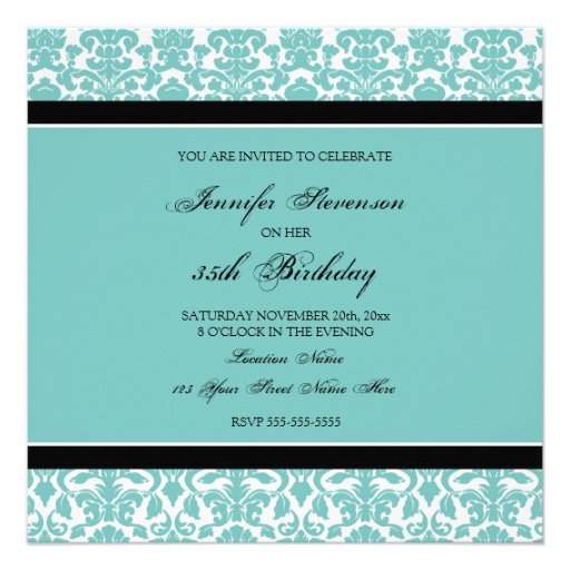 Teal Damask 35th Birthday Party Invitations