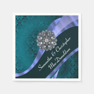 Teal damask and crystal rhinestone disposable napkin