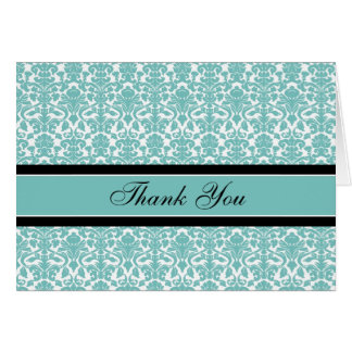 Teal Damask Baby Shower Hostess Thank You Card
