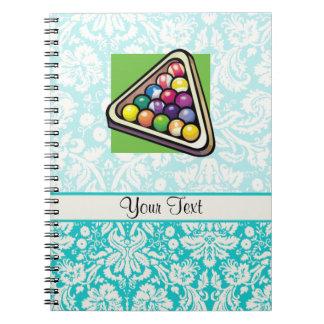 Teal Damask Billiards Notebook