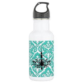 Teal Damask Black Chandelier 18oz Water Bottle