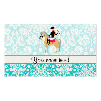 Teal Damask Equestrian Business Cards