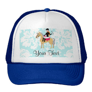 Teal Damask Equestrian Cap