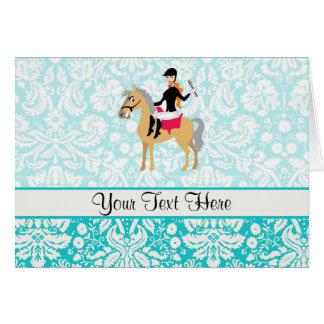 Teal Damask Equestrian Card