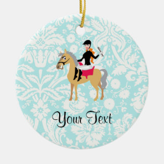 Teal Damask Equestrian Christmas Ornament