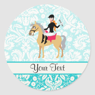 Teal Damask Equestrian Classic Round Sticker
