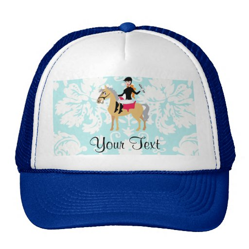 Teal Damask Equestrian Hats