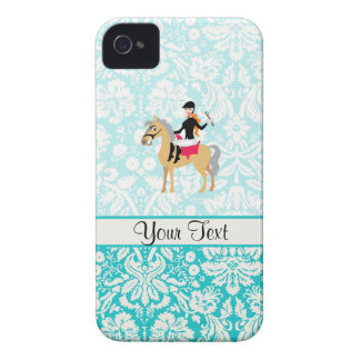 Teal Damask Equestrian iPhone 4 Covers