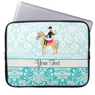 Teal Damask Equestrian Laptop Sleeve