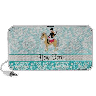 Teal Damask Equestrian Laptop Speaker