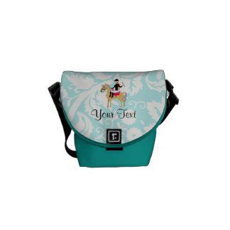 Teal Damask Equestrian Messenger Bags