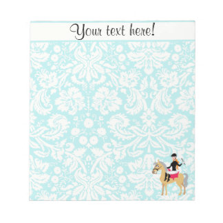 Teal Damask Equestrian Notepad