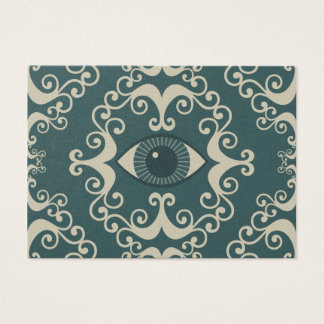 Teal Damask Eyeball Psychic Reader Chubby Cards